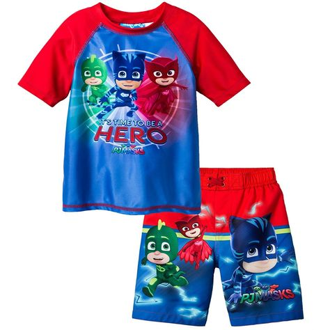 NEW BOYS CHARACTER 2 PIECE SWIMSUIT SETS VARIETY! RASHGUARD & TRUNK SET