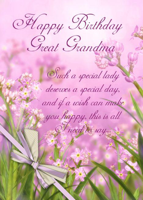 Great Grandma Birthday Pink Feminine Floral With Verse Card