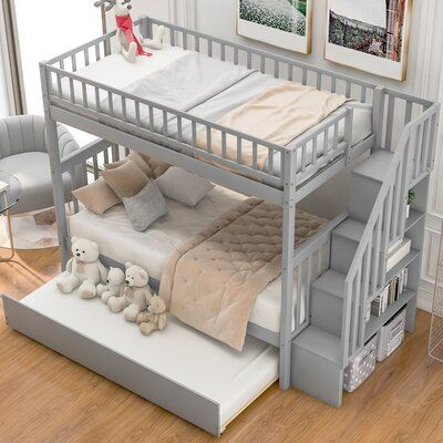 Harriet Bee This twin over twin bunk bed anchor your little one's bedroom in simple, thoughtful style with this twin-over-twin bunk bed with trundle. Crafted of solid wood, this bunk bed strikes a classic silhouette with planked panel headboards and footboards, while the top bunk includes a matching guard rail.This bed can actually allow 3 children to share together. It includes a system of wood slats to prop up your preferred mattresses without the help of a box spring. A trundle bed belo Room Ideas Bedroom, Cute Bedroom Ideas, Girl Bedroom Designs, Awesome Bedrooms, Cool Rooms, Kids Bedroom, Bedroom Decor, Bunk Bed Ideas For Small Rooms, Room Ideas For Girls