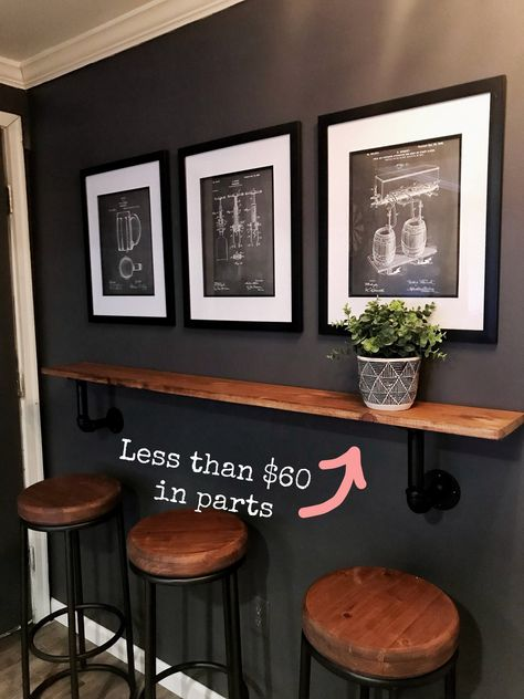 Narrow bar lede gives people a place to stand while waiting Basement Makeover, Bar Decor, Home Bar Rooms, Basement Decor, Home Bar Designs, Home Remodeling, Diy Home Bar, Game Room Bar, Home Decor