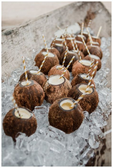 Coconut drinks at tropical wedding at Pangas Beach Club in Tamarindo Costa Rica. Coconut drinks at tropical wedding at Pangas Beach Club in Tamarindo Costa Rica. Photographed by Kristen M. Brown, Samba to the Sea Photography. Table Decoration Wedding, Beach Wedding Decorations, Beach Wedding Favors, Beach Wedding Reception, Wedding Summer, Bohemian Beach Wedding, Boat Wedding, Wedding Dinner, Wedding Menu