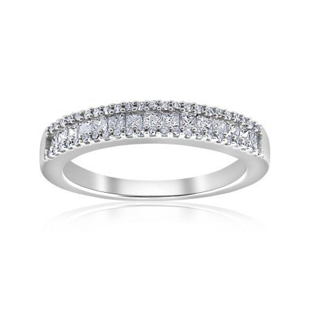 wide size 11 10k White Gold Mens Diamond Wedding Ring Band w// 0.026 Carat Brilliant Cut Diamonds 3//16 in. 5mm
