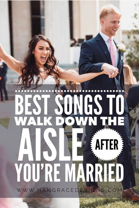 Best Songs to Walk Down the Aisle AFTER you get Married! Best Songs to Walk Down the Aisle AFTER you get Married! A list of BEST songs to walk down the aisle to after you are pronounced husband & wife! Wedding Walk Out Songs, Wedding Aisle Songs, Wedding Recessional Songs, Country Wedding Songs, Processional Songs, Best Wedding Songs, Wedding Playlist, Country Weddings, Vintage Weddings