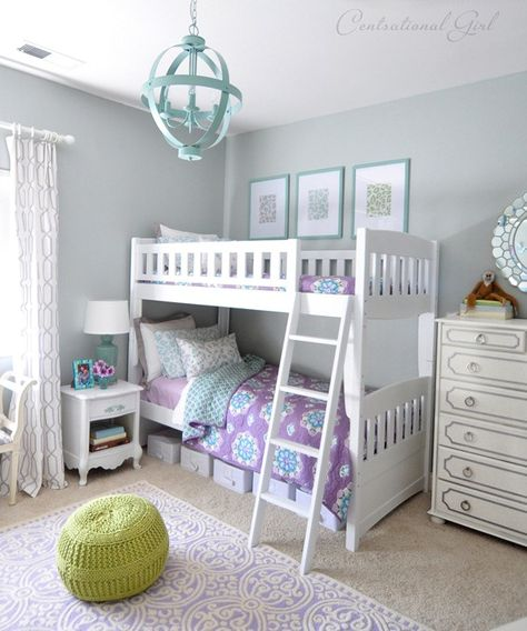 Cute girls room plus LOVE that light (simple - from Lowes and paint)
