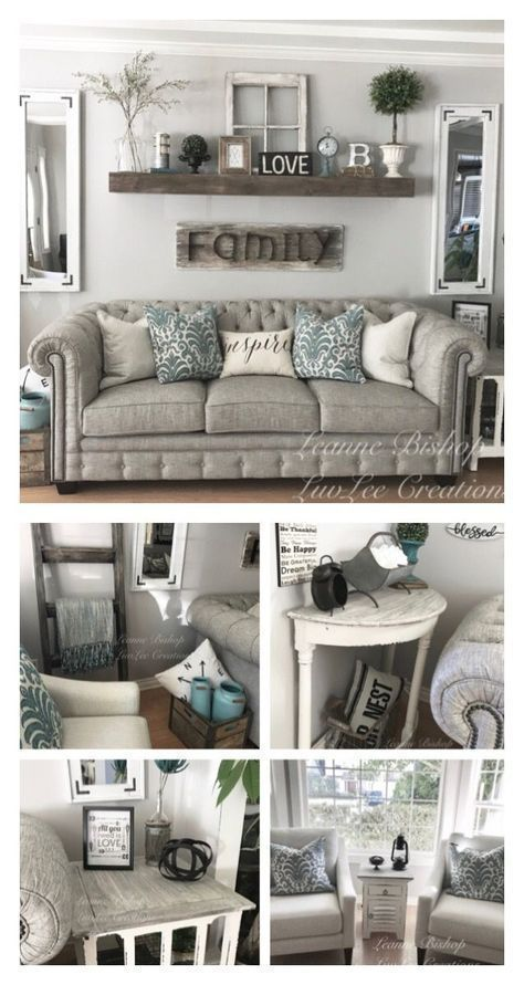My Farmhouse style living room! Be sure to check out my Facebook page: LuvLee Creations   rustic farmhouse home decor ideas and inspiration #homedecor #farmhouse