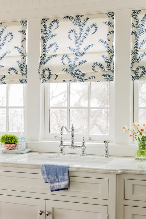 Lovely Roman Shades in this white kitchen | marble counters ...