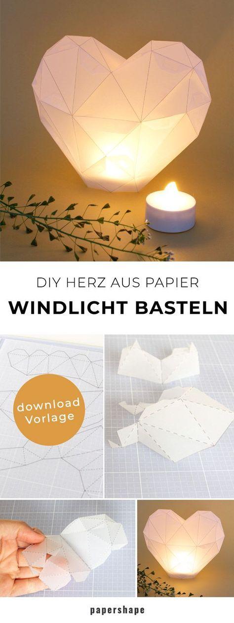 DIY Windlicht basteln als Herz aus Transparentpapier für die Hochzeit, zum Muttertag oder als Dekoration #papercraft #diy #bastelnmitpapier #windlicht #papershape