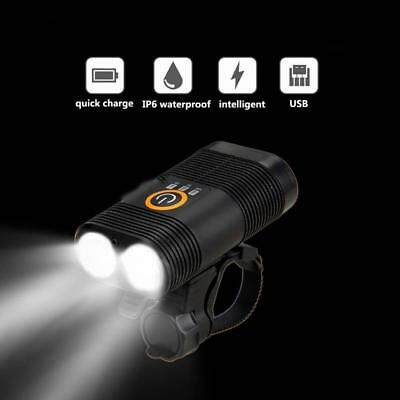 Waterproof USB Rechargeable LED Bike Light Double Lamp Head Light Bicycle Lamp