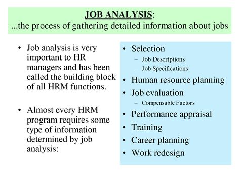 History Of Job Analysis Job analysis is very u2022 Selection - human resource job description