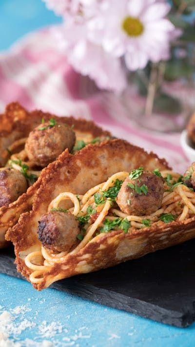 Parmesan Shell Spaghetti Tacos Recipe Taco Spaghetti Recipes Appetizer Recipes