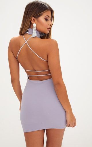 6380f7a7 Ice Grey Lace Up Back Extreme High Neck Detail Bodycon Dress ...