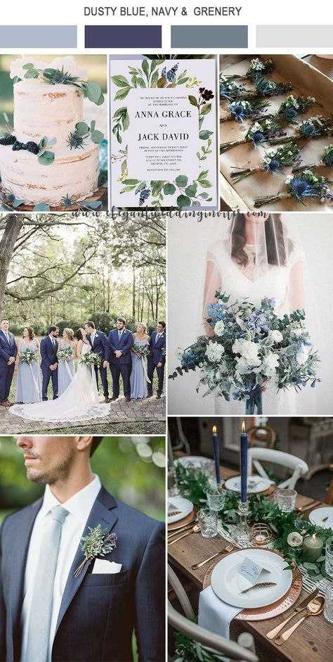 dusty blue,navy and greenery organic modern wedding colors Incredible Ideas for Fall Wedding Decorations