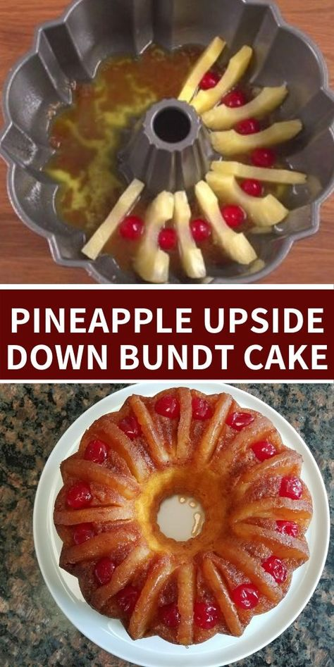 Pineapple Upside Down Bundt Cake Looking for something a little different to make for the holidays? This Pineapple Upside Down Bundt Cake is super easy to make and everyone will love it! Beaux Desserts, Köstliche Desserts, Delicious Desserts, Yummy Food, Tasty, Pineapple Upside Down Bundt Cake Recipe, Pineapple Pound Cake, Pineapple Dessert Recipes, Strawberry Cake Recipes