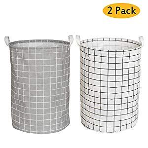 Yoweenton 2 Pack Folding Cylindric Laundry Hamper 19 Inch Fabric