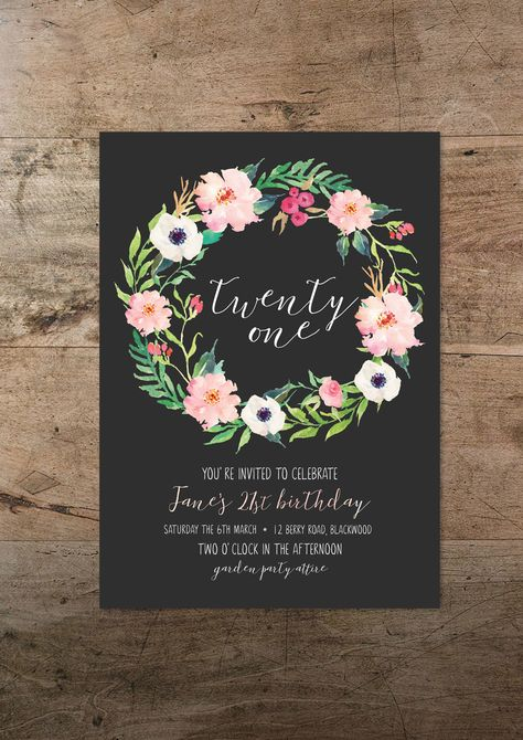 Twenty first invitation, floral twenty one, 21st  birthday invite, bohemian invitation, rustic invitation, hipster, modern invite by RMcreative on Etsy https://www.etsy.com/listing/270720802/twenty-first-invitation-floral-twenty