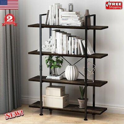 4 Tier Metal Wooden Bookshelf Bookcase Shelving Rack Stand Storage Organizer Us Affilink Bookcases Bookshelves Boo Shelving Racks Wood Bookshelves Bookcase