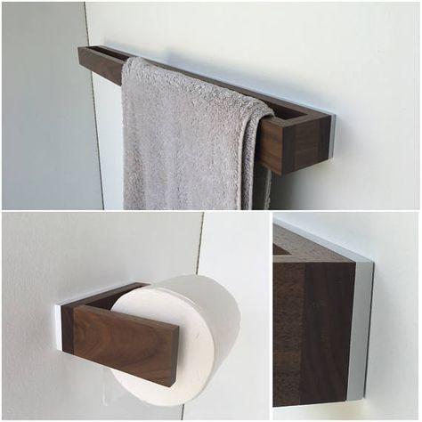 Bad-Handtuchhalter aus Nussbaum-Holz Handtuchhalter, Nussbaum und - badezimmer accessoires holz