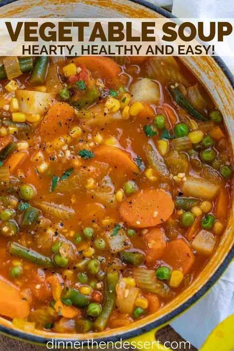 Vegetable Soup is hearty and savory full of nourishing veggies like tomatoes corn green beans celery and potatoes ready in under 45 minutes! Care Skin Condition and Treatment Oil Makeup Veggie Soup Recipes, Vegetable Soup Healthy, Healthy Vegetables, Healthy Recipes, Crockpot Vegetable Soup, Easy Vegtable Soup, Homemade Vegetable Soups, Simple Soup Recipes, Easy Veggie Soup