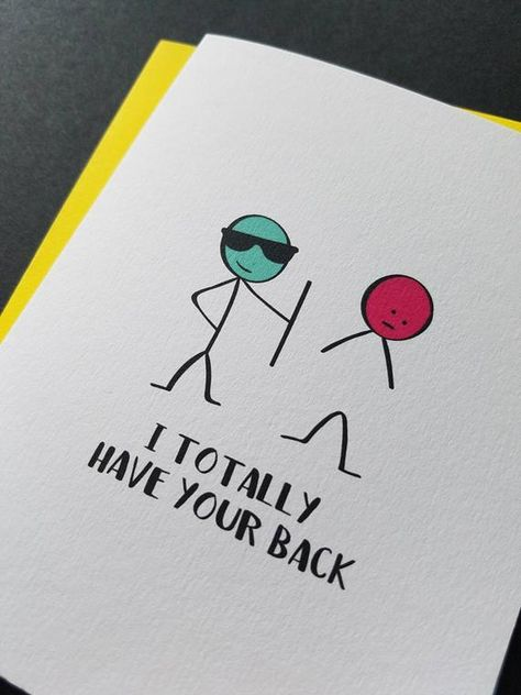I totally have your back, Friend Card, Friendship, Support Card, Stick Figure Funny Greeting Card
