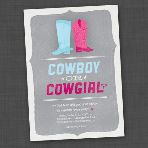Cowboy or Cowgirl Gender Reveal Party Invite