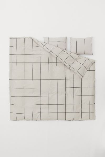Checked Duvet Cover Set Taupe Gray Checked Home All H M Us Duvet Cover Sets Duvet Cover Pattern Duvet Covers
