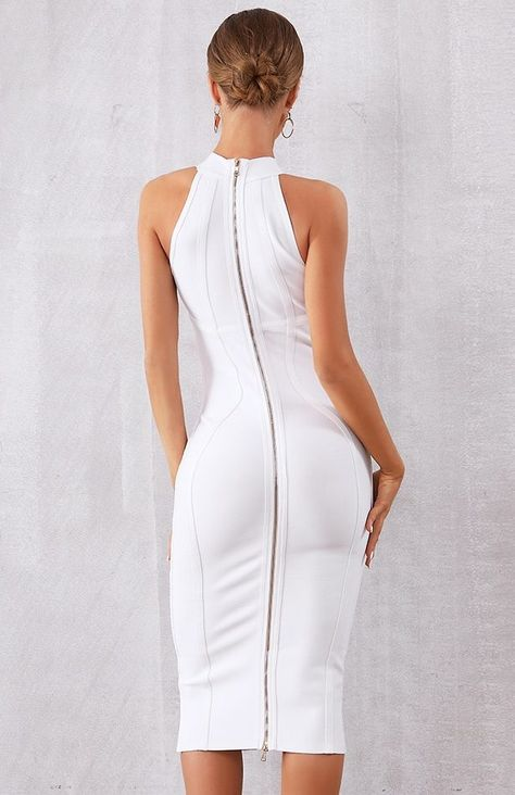 4ac1407462d1 $129.00 White Midi Dress Party Bodycon Dress