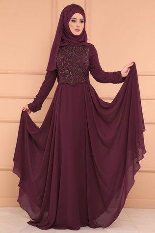 Modaselvim Sik Tesettur Sifon Abiye Modelleri Moda Tesettur Giyim Modelleme Giyim Elbise