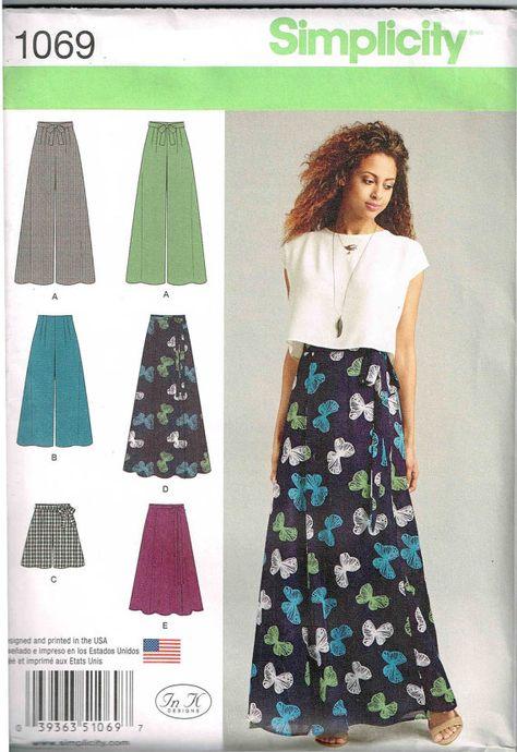 e9e2f4594bda Palazzo Pants Sewing Pattern Wrap Maxi Skirt Shorts Simplicity 1069 Misses  Womans Size 4 6 8