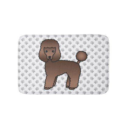 Brown Toy Poodle Cute Cartoon Dog Bath Mat Zazzle Com Brown