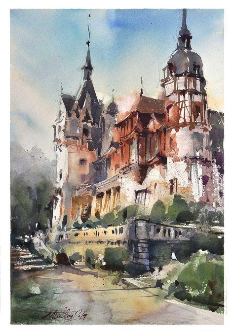 Peles Castle Original Watercolor Painting 2019 Peinture Aquarelle