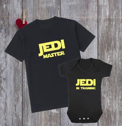 c99f677f Father Son Matching Shirts Daddy And Me Jedi master Jedi in training Dad  And Son Star