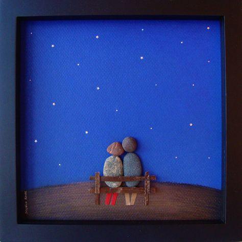 Einzigartiges Engagement Geschenk, Hochzeitsgeschenk, Ruhestandgeschenk, Geburtstagsgeschenk oder Valentinstag Geschenk zu feiern und schätzen den besonderen Anlass; ein außergewöhnliches Geschenk, die für viele Jahre geschätzt werden wird.  ✿ Original Bleistift Zeichnung Kiesel Art mit einem Sinn für Romantik, Geheimnis und Magie. ✿ Kommt in 8 x 8 Zoll schwarz Shadow-Box-Stil-Rahmen mit Glas. Von mir kommt unterzeichnet ✿ ✿ kann auf Wunsch personalisiert werden.  Für weitere solche Designs…