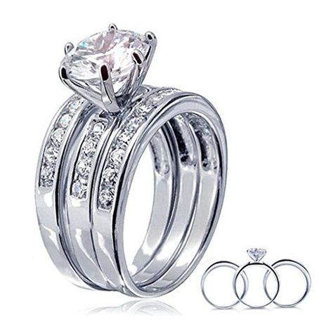 Bishilin Rings for Mens Wedding Princess /& Round White Cubic Zirconia Size 11