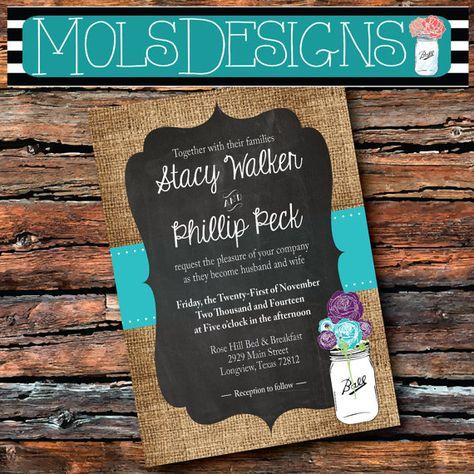Any Color WEDDING Invitation MASON Jar Vintage Country BURLAP Chalkboard Turquoise Purple Teal Summer Floral Wedding Brunch Tea Baby Shower on Etsy, $15.00