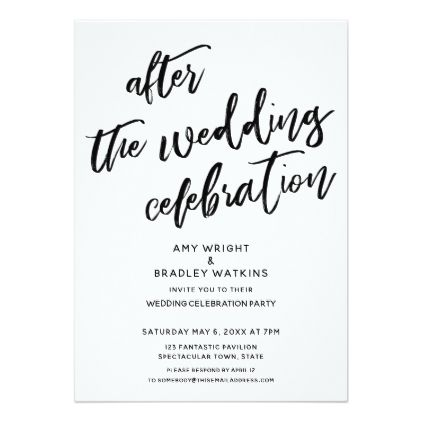 Casual After The Wedding Celebration Black White Invitation