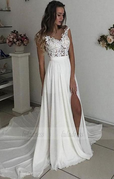 White V Neck Lace Tulle Long Prom Dress Wedding Dress Bd98084 Wedding Dress Chiffon Applique Wedding Dress Cheap Wedding Dress