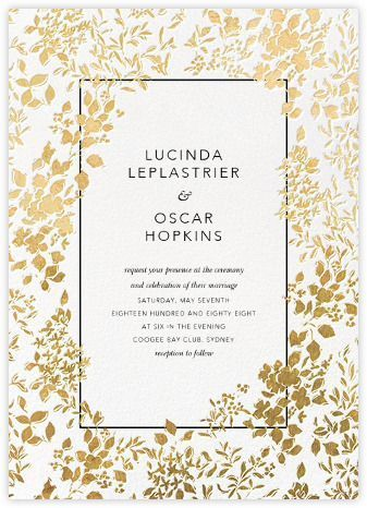 Richmond Park Invitation With Gold Leaves Spring White And
