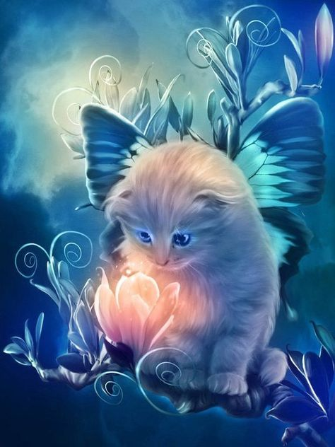 Fairy Kitten Cross Stitch Pattern - Cats, Fairies, Flowers, 14 ct. Aida