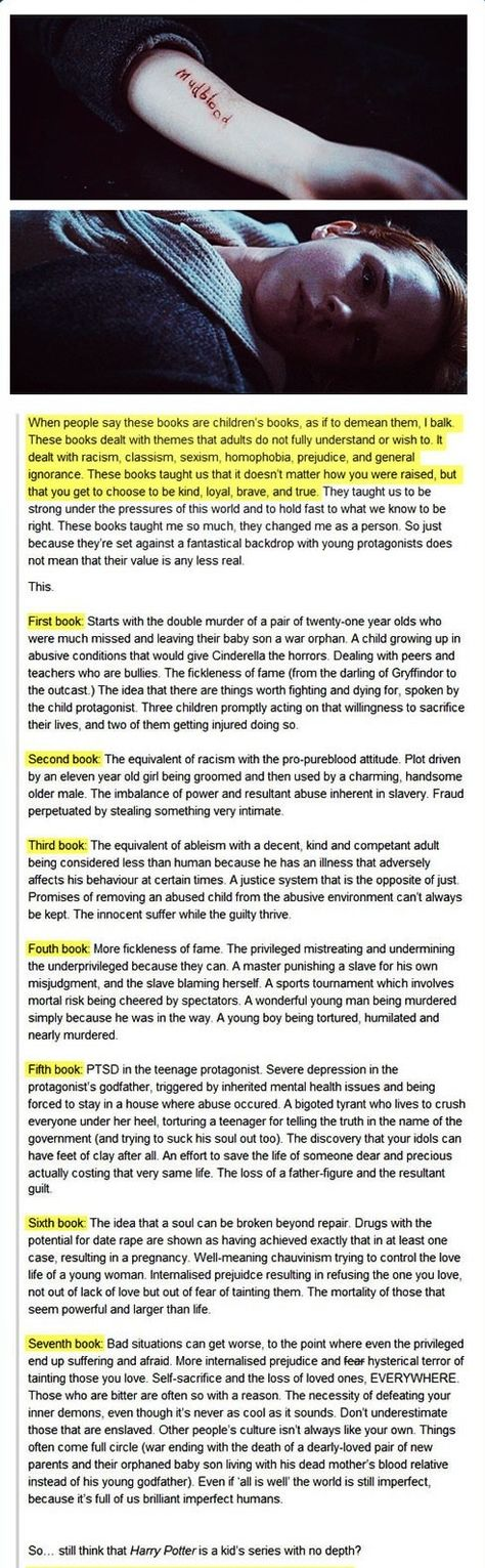 the themes of Harry Potter.. all wonderful and true until the bad grammar in the last sentence.