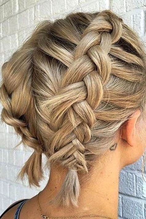 Braided Updo For Short Hair, Cute Hairstyles For Short Hair, Braids For Long Hair, Summer Braids, Braiding Short Hair, Short Bob Updo, Short Hair Ponytail, Two Braids, Beautiful Hairstyles