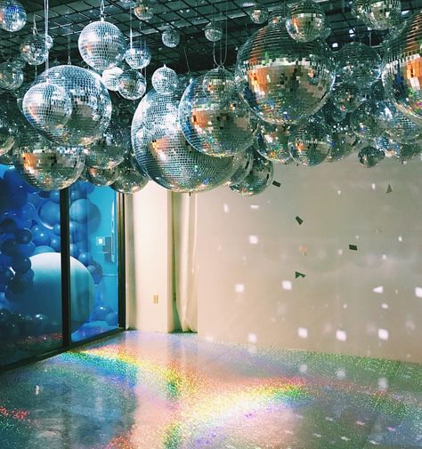 disco balls hanging from ceiling