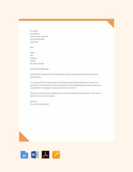 Simple Retirement Letter Sample