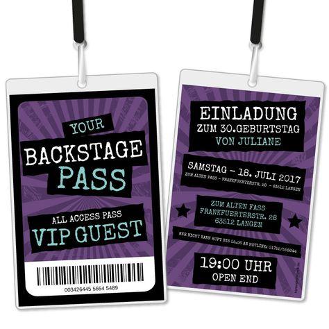 Einladungskarte Als Backstage Pass Vip Einladungskarten Geburtstag Einladungen Einladungskarten