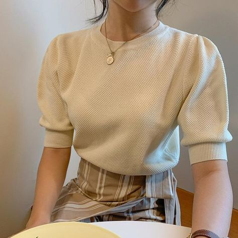 KOREAN RETRO KNITTED PUFF SWEATER - Apricot / One Size