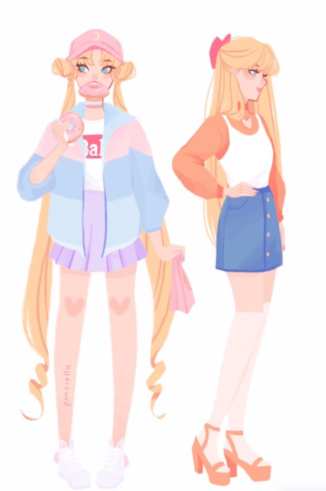 Usagi and Mina sailor moon and sailor Venus sailor scout fan art in punziella sthlsb Sailor Moons, Sailor Moon Crystal, Sailor Moon Art, Sailor Venus, Sailor Moon Outfit, Sailor Jupiter, Sailor Scouts, Character Inspiration, Character Art
