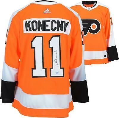 Travis Konecny Philadelphia Flyers Autographed Orange Adidas Authentic Jersey Ropa
