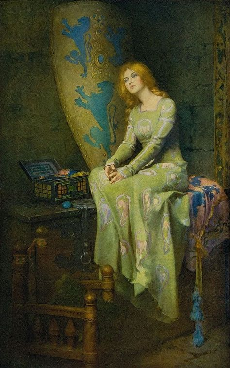 Elaine The Fair - c. 1911 - by William Ladd Taylor (American, 1854-1926) - Illustrating Tennyson's Idylls of the King - Open Edition Print