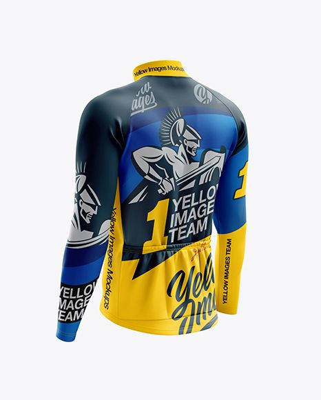Men S Cycling Thermal Jersey Ls Mockup Back Half Side View In Apparel Mockups On Yellow Images Object Mockups Design Mockup Free Clothing Mockup Shirt Mockup