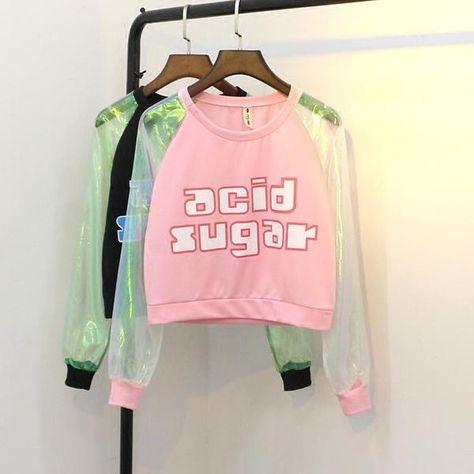 Harajuku fashion transparent sleeve t-shir AD0190