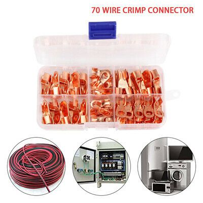 Ad Ebay 70pcs Copper Battery Cable Connector Terminal Open Lugs Wire Terminals Kit Us Welding Cable Copper Tubing Wire